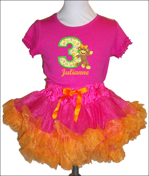 Hot Pink And Orange Custom Petti Skirt And Personalized Tee