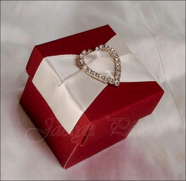 New! Deep Red Candy Box With Ivory Satin And Heart Rhinestone Buckle