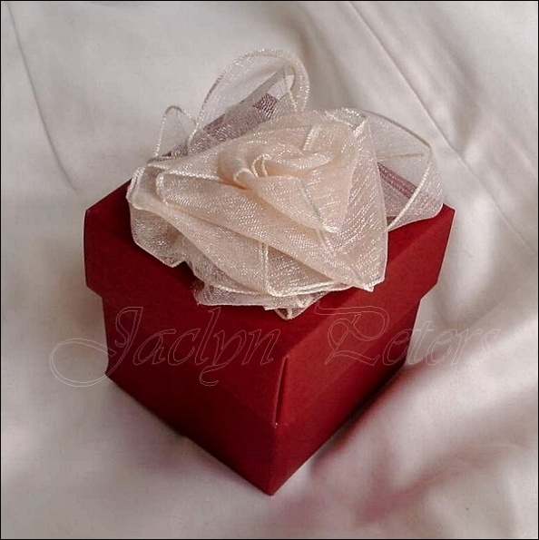 Gorgeous Organza Rose Topped Favor Box