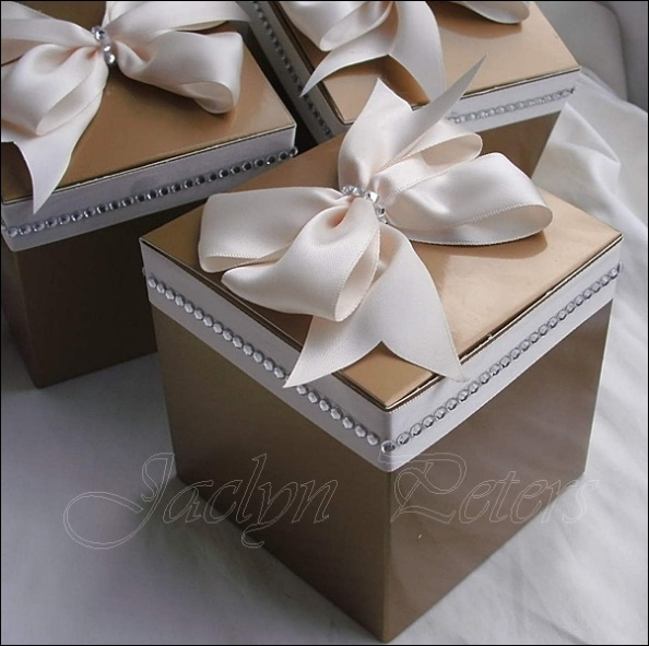 Gold Favor Box Accented With Ivory Satin Bow And Rhinestones. Select Your Custom Colors And Sizes
