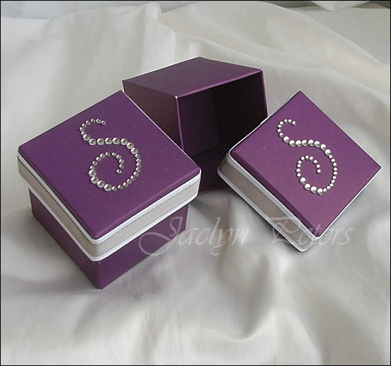 We Love This Purple Box With Your Rhinestone Initial With Silver And White Accents